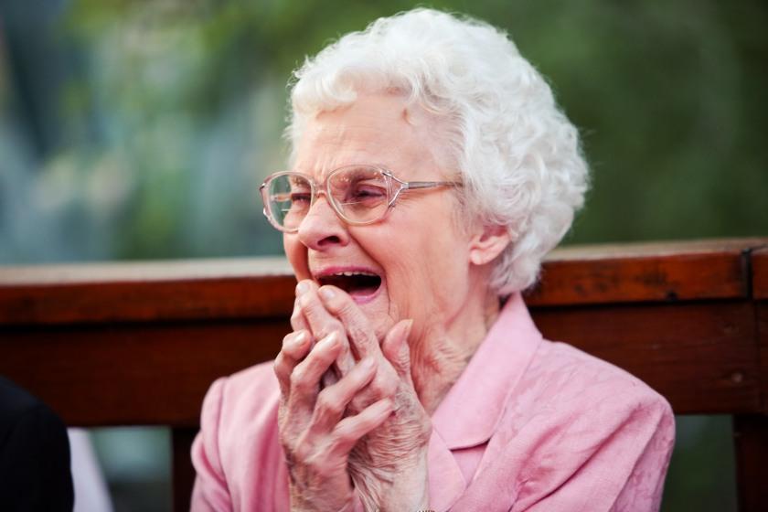 Emotional grandmother at wedding; Shelley Elena Photography